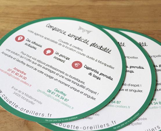 Orizuru | Graphiste webdesigner | Couette & oreillers - Flyer