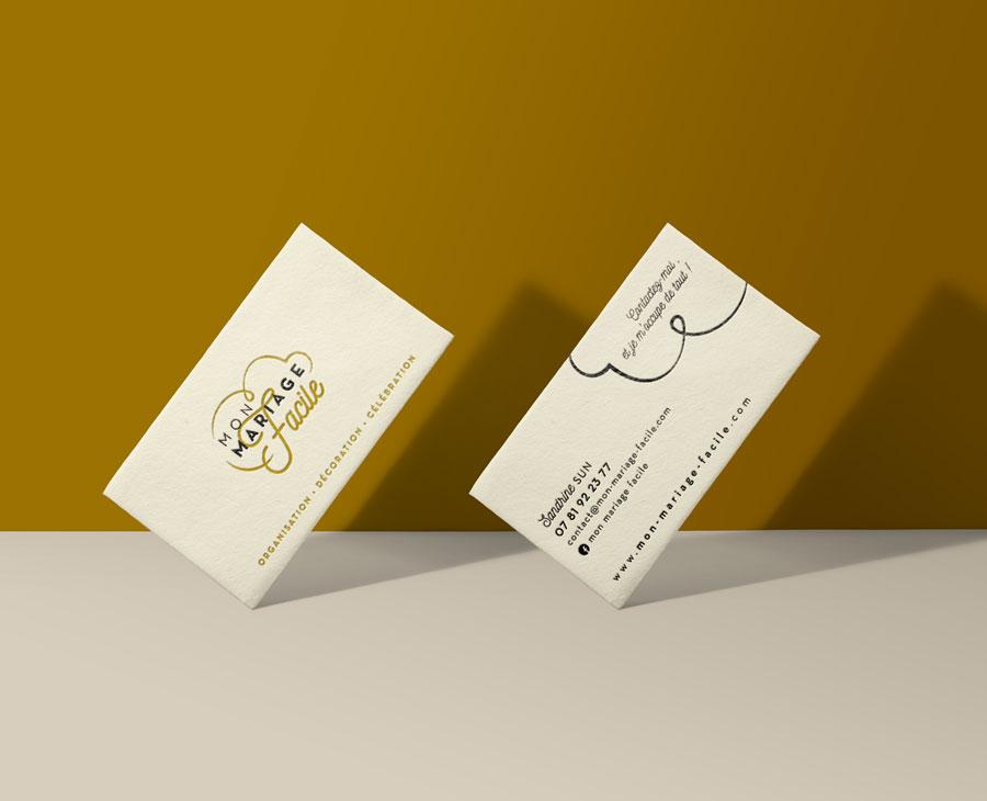 Orizuru | Graphiste webdesigner | Les lunettes de Pauline -  Mon mariage facile - Carte de visite (impression en dorure à chaud)
