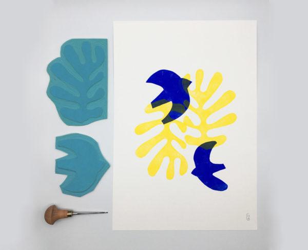 Orizuru créations - BIRDS ~ Linogravure