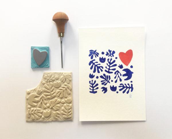 Orizuru créations - LOVE ~ Linogravure